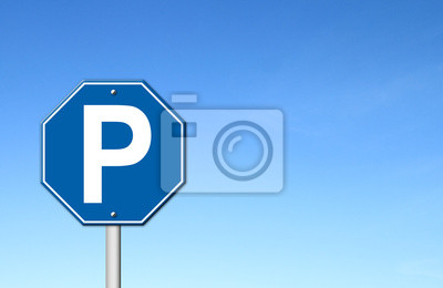 hexagon parking sign with blue sky