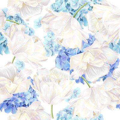Wall mural Hidrangea tulip blue pattern