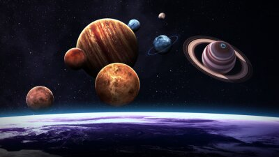Wall mural High quality isolated solar system planets. Elements of this image furnished by NASA
