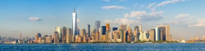 Wall mural High resolution panoramic view of the downtown New York City skyline seen from the ocean