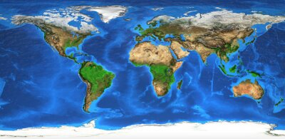 Wall mural High resolution world map and landforms