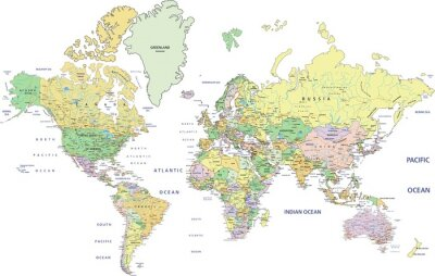 Wall mural Highly detailed political World map with labeling.
