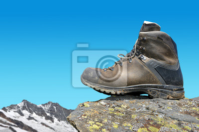 Hiking shoe on the rock, in the background mount Dom and Taschhorn - Pennine Alps, Switzerland