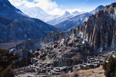 Wall mural Himalaya mountains in Nepal, view of small village Braga on Annapurna circuit