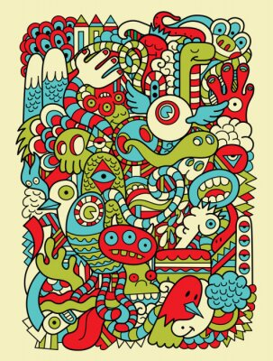 Wall mural Hipster Doodle Monster Collage Background
