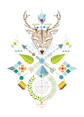 Wall mural Hirschjagd - Grafisches Muster mit Hirschkopf,Zielscheibe,Pfeile,Blätter und Blüten