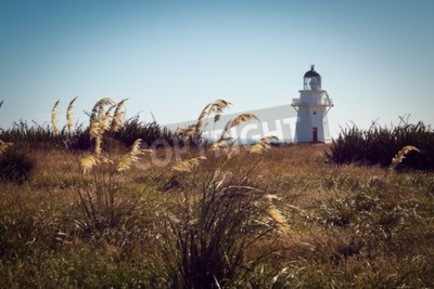 Wall mural Historic Lighthouse at Waipapa Point, Catlins, New  Zealand. Vintage Filter
