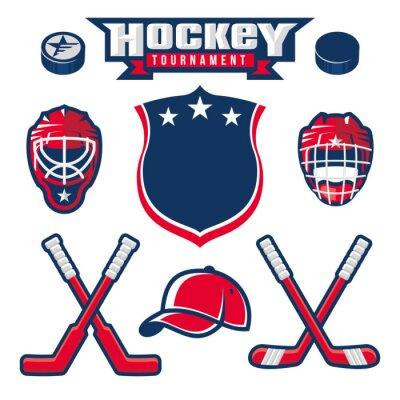 Wall mural Hockey logo, emblem, label, badge design elements