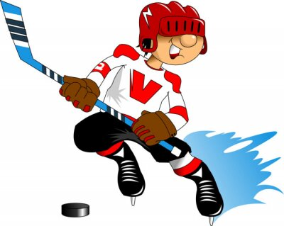 Wall mural hockey player in white