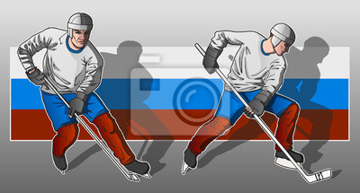 Wall mural Hockey player on Russian flag background.