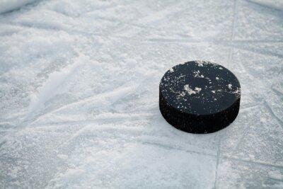 Wall mural Hockey puck on ice hockey rink