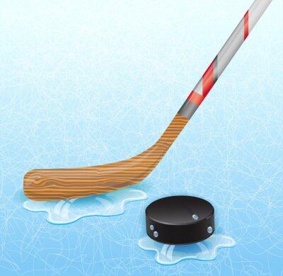 Wall mural Hockey stick and hockey puck. Illustration 10 version.