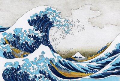 Wall mural Hokusai The Great Wave Of Kanagawa adult coloring page
