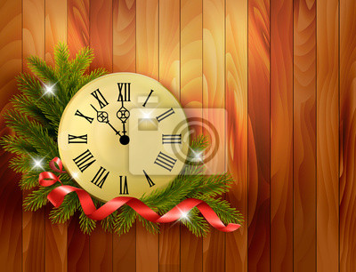 Holiday background with tree branches and clock. Vector illustra