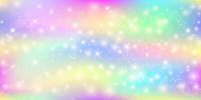 Wall mural Holographic magic background with fairy sparkles, stars and blurs.
