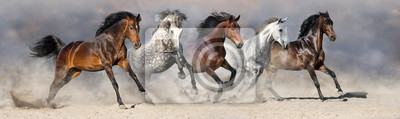 Wall mural Horses run fast in sand against dramatic sky