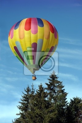 Hot air balloon above the trees
