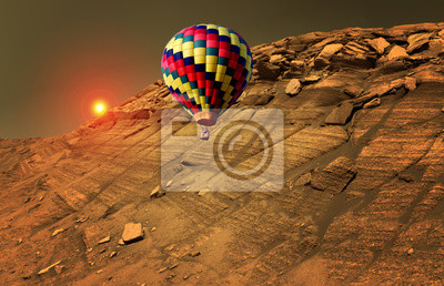 Hot air balloon around the world trip stunning aerial view landscape. Elements of this image furnished by NASA.