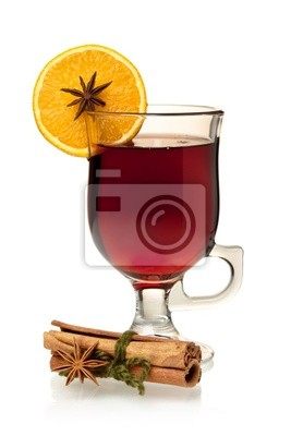 Wall mural Hot mulled wine with orange slice, anise and cinnamon sticks