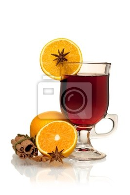 Wall mural Hot mulled wine with oranges, anise and cinnamon