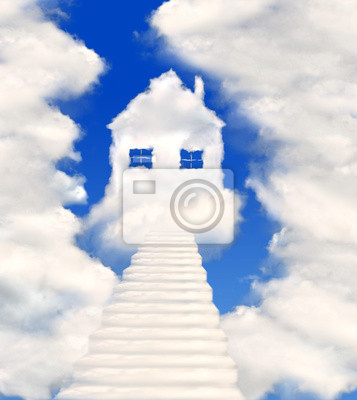 houses in clouds