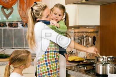 Housewife with children has a lot of stress