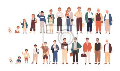 Wall mural Human life cycles vector illustration. Male and female growing up and aging. Men and women of different ages cartoon characters. Children, adult and old people isolated on white background.