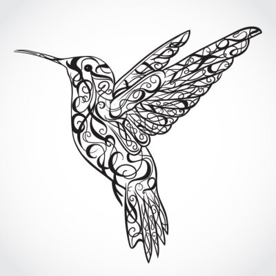 Wall mural Hummingbird. Tattoo art. Retro banner, invitation,card, scrap booking. t-shirt, bag, postcard, poster.Highly detailed vintage style hand drawn vector illustration