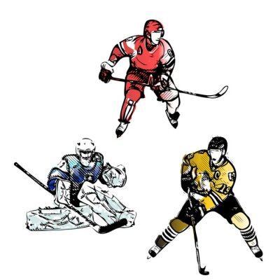 Wall mural ice hockey players vector illustrations