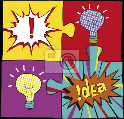 Idea puzzles in Pop art style. Creative light bulbs