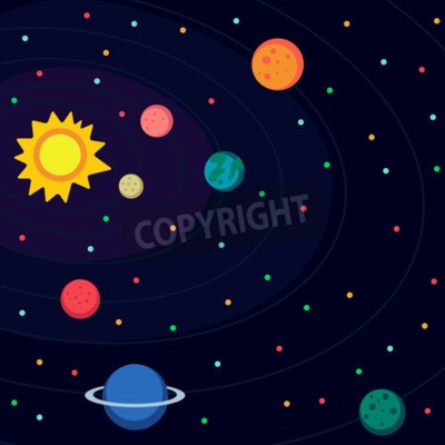 Wall mural Illustration in style flat about outer space.