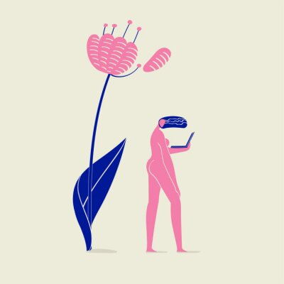 Wall mural illustration of a girl nude with notebook under flower, person, nature, ecology and technology, pink and blue colors scheme