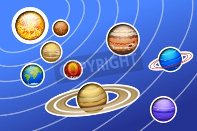 Wall mural illustration of drawed solar system with lines on blue background