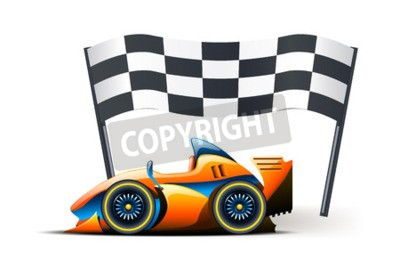 Wall mural illustration of formula one and flag on it on white background