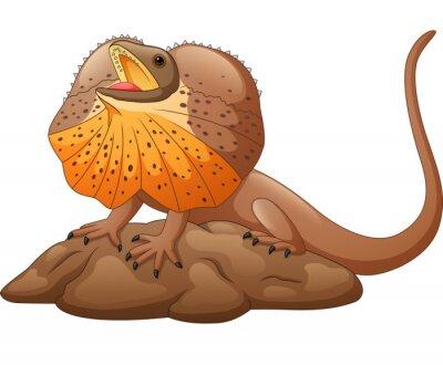 Illustration of frilled lizard isolated on white background