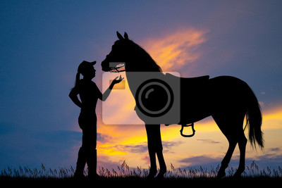 Wall mural illustration of girl and horse at sunset