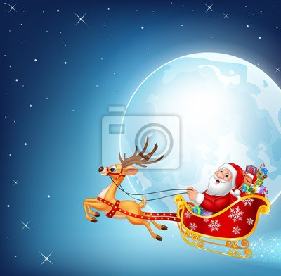 Illustration of happy Santa in his Christmas sled being pulled by reindeer