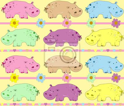 illustration of hippos background