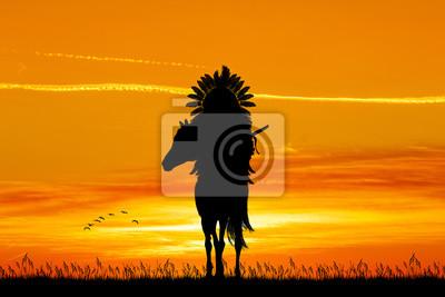 Wall mural illustration of Native American Indian on horseback at sunset