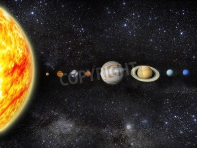 Wall mural Illustration of our solar system  - 3D REnder Maps from http   planetpixelemporium com