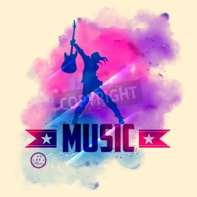 Wall mural illustration of rock star with guitar for musical background