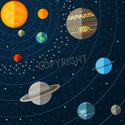 Wall mural Illustration of solar system with planets. Vector illustration