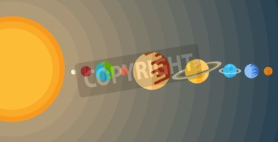 Wall mural illustration of the solar system in a flat style.