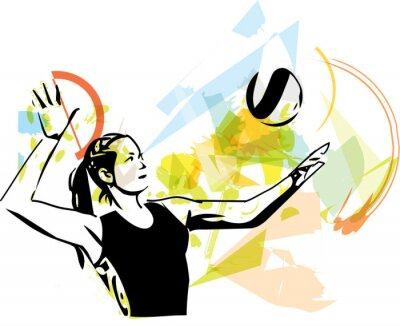 Wall mural Illustration of volleyball player playing