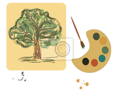 illustration  with color plate and brush