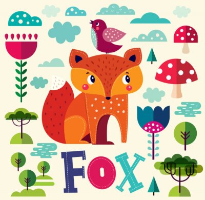 Wall mural Illustration with fox and other elements