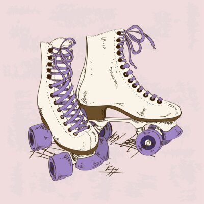 Wall mural Illustration with retro roller skates