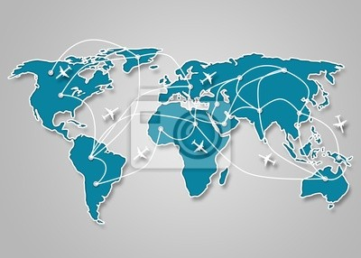Wall mural Image of a light blue world map with the ways of communication