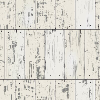 Wall mural Imitation wood planks with nails. Vector seamless retro pattern