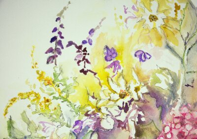 Wall mural Impression of a mix of wild flowers. The dabbing technique near the edges gives a soft focus effect due to the altered surface roughness of the paper.